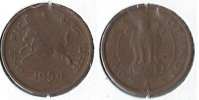 1954 B India 1 pice coin