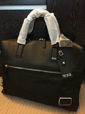 NEW Tumi Black Leather and Nylon Messenger Laptop Briefcase Bag DFS Exclusive