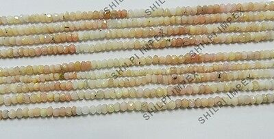 "1PC 14"" Natural Pink Opal 3x2mm rondelle faceted gemstone beaded strand necklace"