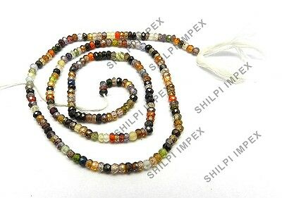 "Free Postage! 1 Strand 16"" Multi Color CZ Gemstone 3mm rondelle faceted beads"