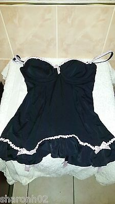 Ann Summers Frilly  Black & Pink  Suspender Cami Size Medium 12 - 14 NWOT