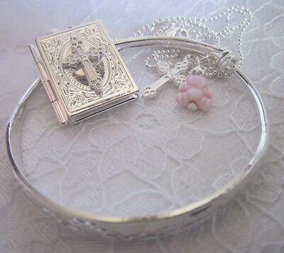 "BIBLE LOCKET&BANGLE/sterling  Silver 16"" Chain/925 BANGLE+pink Ted/Boxed."