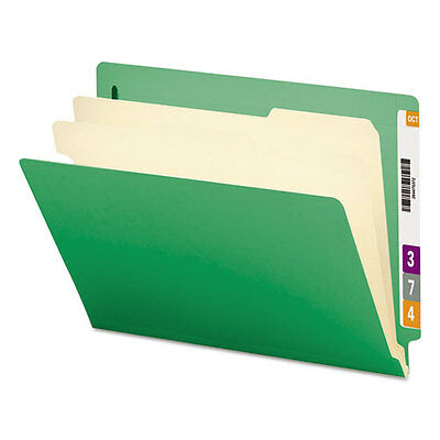 Smead Colored End Tab Classification Folders, Letter, Six-Section, Green,...