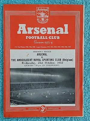 1953 - ARSENAL v ANDERLECHT PROGRAMME - FRIENDLY
