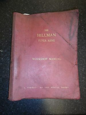 Authentic Hillman Super Minx Mk1 Workshop Manual Issued 1961 Rootes Group
