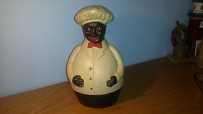 Awesome Vintage Black American Chef Cast Iron Still Bank and Door Stop~Orig