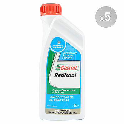 Castrol Radicool Antifreeze Concentrate Summer Coolant Anti Freeze 5 x 1 Litre