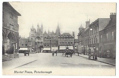 PETERBOROUGH Market Place, Postcard by Valentine Postally Used 1915