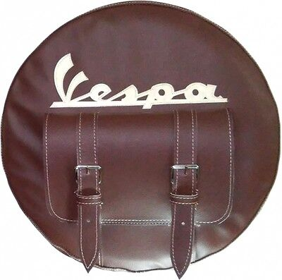 VESPA SPARE WHEEL COVER WITH POCKET for  tools or documents HAND MADE LEATHER