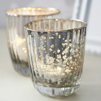 sets Antique Ribbed Glass Tea Light Holder