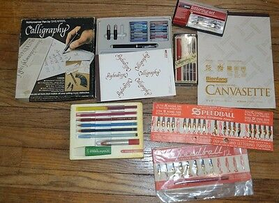 Vintage Calligraphy Sets - Large Lot of Tips, Speedball Drawing Lettering Pens