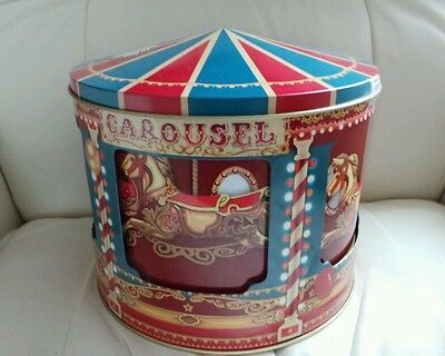 Large Collectable Novelty  Rotating Carousel Musical Biscuit/Storage  Tin