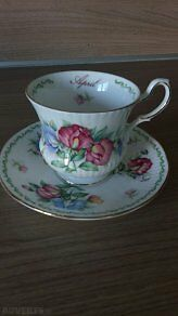 Queens China Birthday Flowers April /Sweet Pea Bone China Cup & Saucer