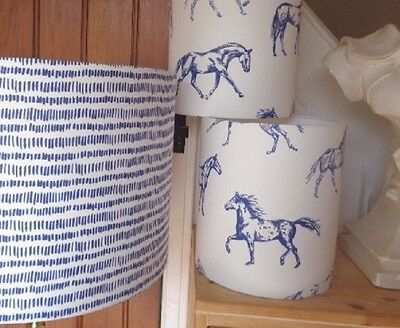 "3 LAMPSHADES in JOULES HAND DRAWN HORSE to match DUVET SET 16"" & 2 x 8"" bedside"
