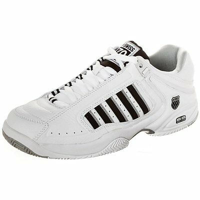 K-Swiss Defier RS Men's White & Black Leather Pro Tennis Trainers Shoes Size 9H