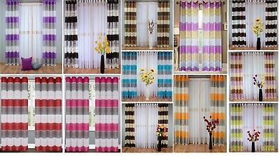 STRIPED RING TOP VOILE CURTAIN PANEL 15 colours & 3 sizes available