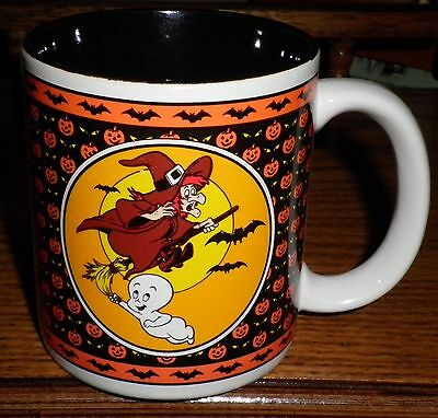 Casper the Friendly Ghost Coffee Mug Halloween Witch Broom Bats Pumpkins 1986