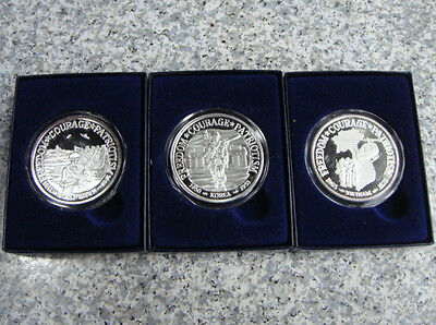 3 Coin Set, Each One Is 1 Troy Ounce .999 Pure Silver:  WWII, Korea & Viet Nam