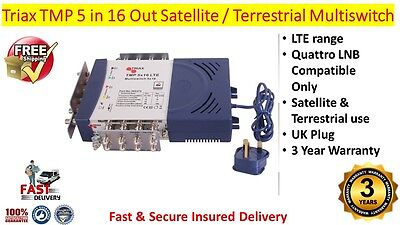 Triax TMP LTE 5 in 16 Out Satellite & Terrestrial Multiswitch Use Quattro LNB