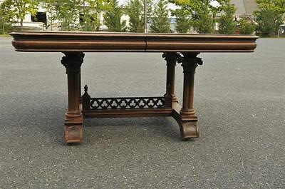 French Gothic Walnut Dining Table with Classic Carved Detail , Late 19th Century