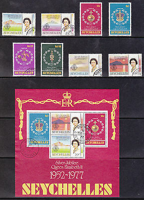 Seychelles - Silver Jubilee 1977 USED set & sheet SG393 to SG400 MS401