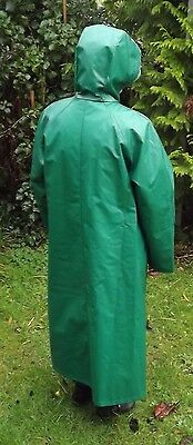 Vintage / Retro GREEN Rukka Quilted Raincoat 14/16 Mac Coat PVC OILCLOTH FINLAND