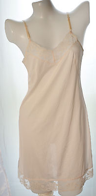 Ladies nylon full slip with lace no.160 light pink  size 36