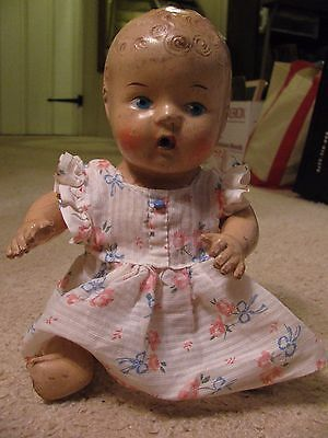 """Vintage Wettums in Summer Dress 11-1/2"""" Blue Eyes-Curly Hair-Arms & Legs Move"""