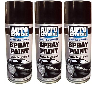 3 x Black Gloss Spray Paint Can Auto Extreme Petrol Resistant Non Crack 400ml