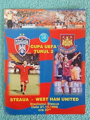 1999 - STEAUA BUCHAREST v WEST HAM PROGRAMME - UEFA CUP 2ND ROUND