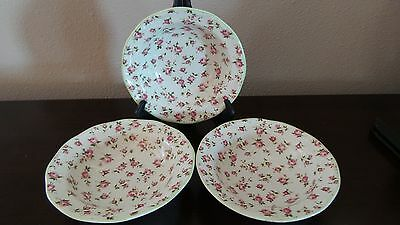 Stoney Hill Garden Filigree Rimmed Soup/Cereal Bowls x3 Pink Roses Green Trim
