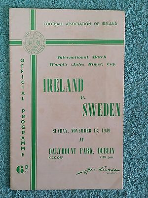 1949 - REPUBLIC OF IRELAND v SWEDEN PROGRAMME - WORLD CUP QUALIFIER