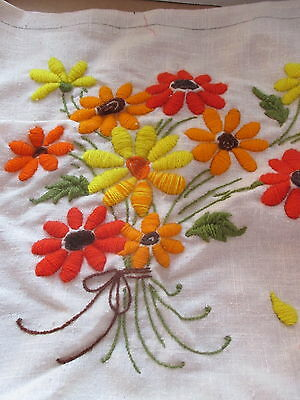 Crewel Floral Embroidery Pillow Top Unfinished Project 16 by 16 Flower Bouquet