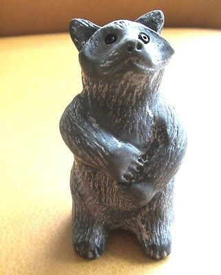 "Soapstone  ~ RACCOON FIGURINE  ~ ""WOLF""  Signed on the figure Gray & Black"