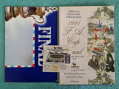 1991 - FA CUP FINAL PROGRAMME + MATCH TICKET + POSTER - NOTTS FOREST v TOTTENHAM