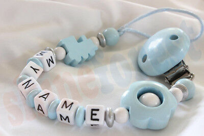 Personalised Wooden Dummy Clip Holder Chain Strap for baby with MAM adapter