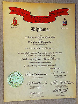 1961 US Army Infantry Artillery Missile Air Defense School Diploma Certificate