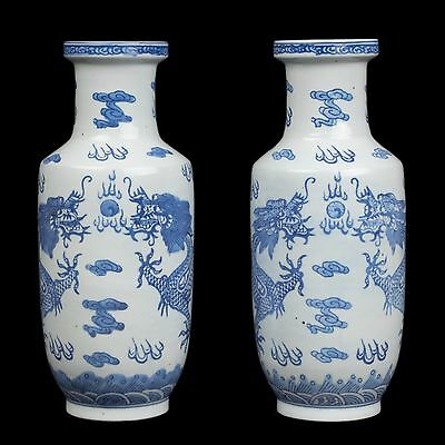 China 20. Jh. Vasen -A Pair Of Chinese Blue & White Rouleau Vases Chinois Cinese