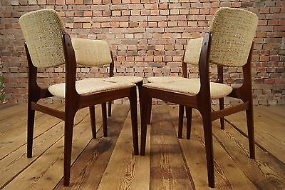 4x Esszimmer Stühle Mid-Century Stuhl Vintage Set of 4 Dining Chairs Danish 60s