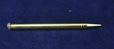 Antique Brass Pencil With White Stone or Pearl - Made in USA