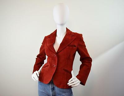 Vintage 70s 80s  Rust Colored Suede Blazer Jacket Size XS