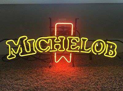 """Michelob Neon Beer Sign LARGE 34"""" Long By 14"""" Mirror Light Vintage Yellow Red"""