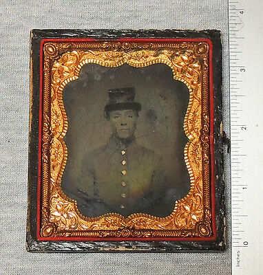 1/6 Ambrotype of Young Soldier in an Unusual Hat, Male or Female?