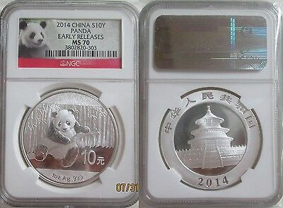 #41 2014 China Silver Panda 10 Y (1 oz) MS-70 Early Releases NGC# 3802820-303