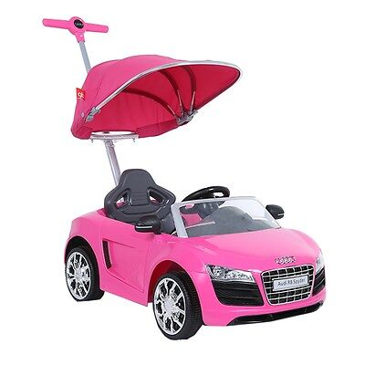 Audi Push Buggy With Canopy Ride on Car Kids Handle Outdoor Fun Ride Pink New