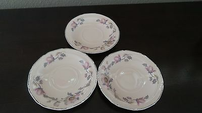 Edwin Knowles China  Mayglow Alice Ann Platinum Trim Saucers x 3