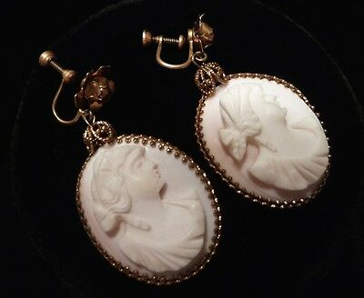 Antique Hand Carved Victorian Creamy Pink and White Conch Shell Earrings