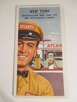 Vintage ATLANTIC PENNSYLVANIA NEW YORK Oil Gas Service Station Road Map-1950 Cen