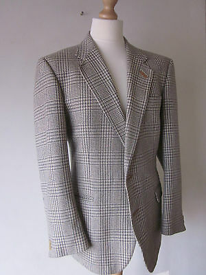Vtg Daks 100% Cashmere Blazer (44-Regular) Cream Herringbone Leather-Trim