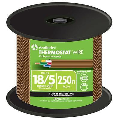 Southwire 250 ft. 18/5 Gauge Brown Solid CU Thermostat Bell Wire Indoor Outdoor